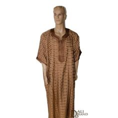 Traditional Gandora for Men with elegant Moroccan embroideries and summery light fabric.  Checked design, three-quarters sleeve with subtle tone on tone colors, this outfit gives you an original touch of luxury.    Available in White, Light Brown and Black.