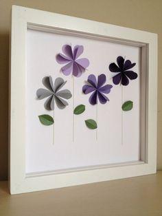 Lila Virágok, 3D papír művészet, személyre szabható: