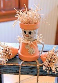 Clay Pot Autumn Decorations — DIY Terracotta Scarecrow