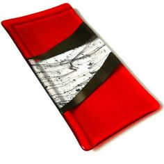 Orange Fused Glass Platter with Iridized Black Accents, 14 x 7 Inches | ResetarGlassArt - Glass on ArtFire