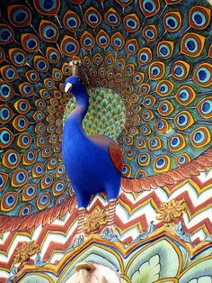 Rajasthan, colourful decoration at the City Palace in Jaipur