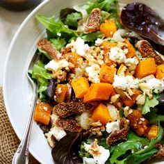 Roasted Onion, Squash & Fig Salad with Maple Mustard Balsamic Dressing