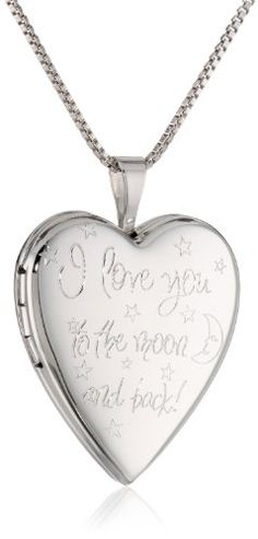 """Sterling Silver Engraved """"I Love You to the Moon and Back"""" Heart Locket Necklace, 18"""" - Saucy Sales"""