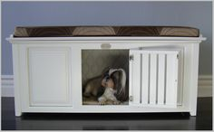 bench you can put a dog crate under Diy Dog Kennel, Kennel Ideas, Diy Dog Crate, Dog Spaces, Pet Furniture, Fine Furniture, Furniture Ideas, Dog Rooms, Dog Crafts