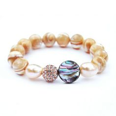 GIA - mother of pearl rose gold pave abalone bracelet | © VELINA