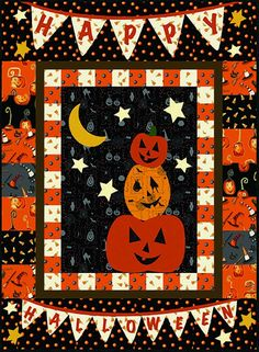 Cheeky Pumpkin Free Quilt Pattern from Studio e Fabrics Halloween Quilt Patterns, Halloween Quilts, Halloween Pumpkins, Halloween Stuff, Michael Miller Fabric, Panel Quilts, Quilt Blocks, Quilted Wall Hangings, Quilt Patterns Free