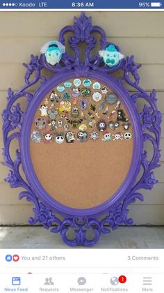 Upcycled Haunted Mansion Disney Pin Display Board - be fun to diy this Disney Home Decor, Disney Diy, Disney Crafts, Disney Magic, Disney Ideas, Disney Stuff, Haunted Mansion Disney, Haunted Mansion Decor, Disney Vacations