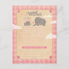 Shop Wishes for Baby Girl - Elephant Advice Cards created by joyonpaper. Baby Shower Activities, Baby Shower Games, Baby Boy Shower, Wedding Advice Cards, Baby Girl Elephant, Wishes For Baby, Baby Games, Paper Texture, Bridal Shower