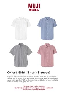 [Oxford Shirt/Short Sleeves] made for a faded look that preserves the natural feel of cotton. It is best suited for summer. Buttons have been made from recycled PET bottle resin. Available colors in white, blue, grey and red.