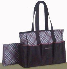 Eddie Bauer Organizer Diaper Bag Sinclair - Black Plaid