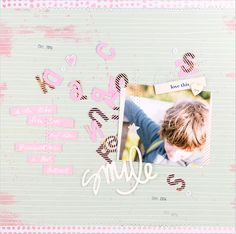 'Smile' mit dem Februarkit 2015 der #scrapbookwerkstatt I New scrapbooking layout 'smile' with white journaling on rosé-pink cardstock #dearlizzy #americancrafts