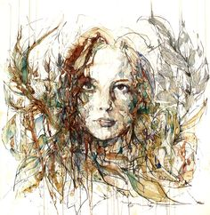 Germany based artist Carne Griffiths creates illustrations using calligraphy ink, graphite and liquids, such as tea, brandy, vodka, and whiskey,