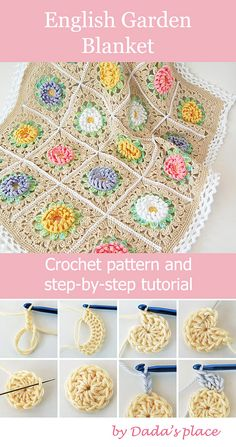 Flower granny square crochet blanket pattern and step-by-step tutorial suitable . Flower granny square crochet blanket pattern and step-by-step tutorial suitable for beginners. Easy Crochet Blanket, Crochet For Beginners Blanket, Crochet Quilt, Beginner Crochet, Crochet Blankets, Crochet Flower Squares, Granny Square Crochet Pattern, Afghan Crochet Patterns, Crochet Granny