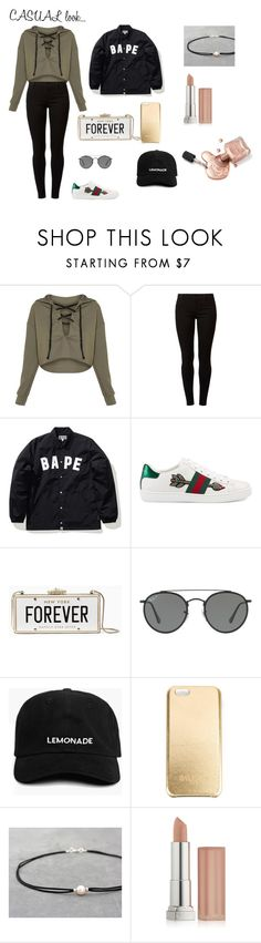 """#casual.look/4"" by juliefashionz on Polyvore featuring moda, Dorothy Perkins, A BATHING APE, Gucci, Kate Spade, Ray-Ban, Balmain i Maybelline"