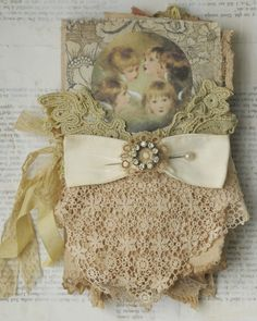 Mixed Media Fabric Collage Wall Hanging of Little Cherubs   eBay