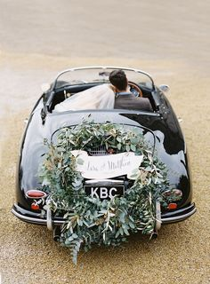 green getaway car decor via paula ohara Marie's Wedding, Wedding Exits, Wedding Blog, Wedding Photos, Dream Wedding, Wedding Cars, Wedding Ideas, Irish Wedding, Wedding Album