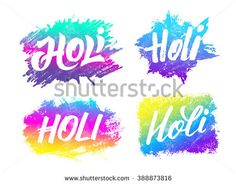 Holi festival banners set with hand drawn lettering. Abstract watercolor background for Indian holiday. Colorful badges with Holi typographic text and paint splash. Powder paint. Vector illustration