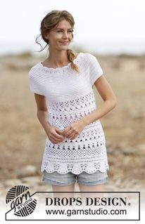 "Crochet DROPS top with lace pattern and round yoke, worked top down in ""Cotton Merino"". Size: S - XXXL. ~ DROPS Design"