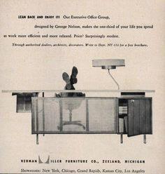 Herman Miller Ad, 1954 Executive Office, George Nelson, Herman Miller, Eames, Life, Furniture, Design, Decor, Decoration
