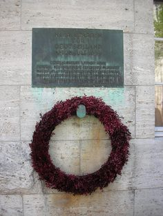 "Plaque at the Memorial of German Resistance, Berlin. The inscription reads ""Here died for Germany, 20th July 1944"" and lists the conspirators who were executed at that spot for their failed attempt at the assassination of Hitler."