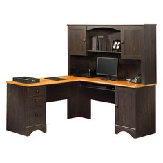 sauder harbor view corner computer desk with hutch antiqued paint from