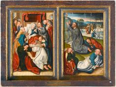 The Dormition of the Virgin and Jesus in the Garden. Painted 1500, AD. From a private collection, sold at Sotherby's. Artist is FOLLOWER OF JAN BAEGERT (FORMERLY KNOWN AS THE MASTER OF KAPPENBERG) ...