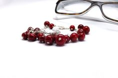cherry glass bracelet red lampwork beads  dangle red by amabito, €22.00
