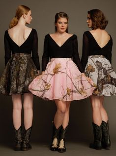 Carrafina Camo Prom and  Special Occasion Dresses. LICENSED Mossy Oak and Real Tree  Deep V neckline and back with long sheer sleeves. This style is an Aline that comes black with your choice of camo color on the bottom! so cute!