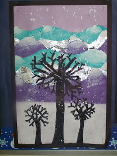 WHAT'S HAPPENING IN THE ART ROOM??: 4th GRADE--Winter Landscapes