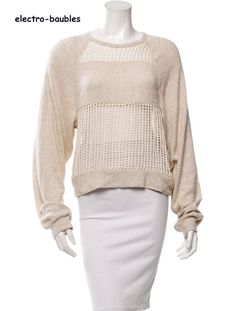 SOLD!!  ISABEL MARANT  Etoille Casual Womens Ecru Cotton Open-Knit Sweater Top 36  #ISABELMARANT #Crewneck #Casual