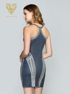 Style 3169RB | Val Stefani Cocktail | Sequin Beaded Short V-neck Racerback Party Dress