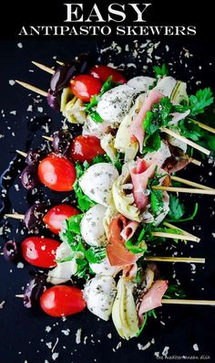 YUM! These Antipasto Skewers are the perfect appetizer for your next party! We share exactly what you need and how to serve these antipasto skewers with assorted veggies, marinated olives, cured meats and more! #antipasto #antipasti #skewers #glutenfree #mediterraneanrecipes #italianfood #italianrecipes #appetizers #summer Appetizers For Party, Appetizer Recipes, Brunch Recipes, Cold Appetizers, Summer Recipes, Antipasto Skewers, Marinated Olives, Marinated Mushrooms, Cooking Recipes