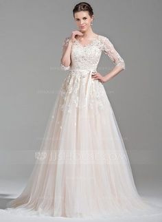 [£207.00] Ball-Gown V-neck Court Train Tulle Wedding Dress With Beading Appliques Lace Sequins Bow(s)