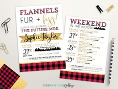 Flannels, Fur & Fizz Bachelorette Party Invitation // 5x7 // Custom Invitation // Bridal Shower // Party Itinerary // Holiday Party by designtwentyfive on Etsy https://www.etsy.com/listing/474307069/flannels-fur-fizz-bachelorette-party