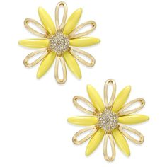 kate spade new york Gold-Plated Yellow Stone Daisy Stud Earrings - Jewelry & Watches - Macy's - These earrings are great quality and are super cute with any summer outfit. 14k Earrings, Yellow Earrings, Gold Plated Earrings, Stone Earrings, Stone Jewelry, Kate Spade Earrings, Mellow Yellow, Gold Studs, Daisy