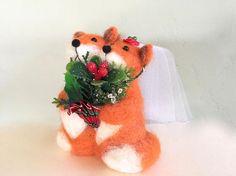 Christmas wedding cake topper Christmas foxes Christmas