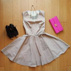 BEautiful summer nude dress. skater skirt and v neckline