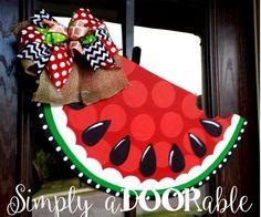 Watermelon Wood Door Hanger, Summer, Wooden Watermelon Decoration, Summer Watermelon Wreath, Simply aDOORable - Decoration For Home Burlap Crafts, Burlap Bows, Wooden Crafts, Wooden Door Signs, Wooden Doors, Watermelon Decor, Watermelon Carving, Burlap Door Hangers, Wooden Cutouts