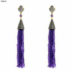.925 Sterling Silver Earrings 18k Yellow Gold Earrings 1.86cts Diamond Pave Earrings Amethyst Beaded Tassel Earrings Fashion Jewelry,