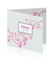 geboortekaartje-meisje-vogels-bos-trendy-roze-ruitje