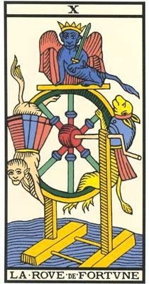 The Wheel of Fortune - Tarot of Marseille : How to interpret the Wheel of Fortune card in a reading? Tarot Gratis, Queen Of Hearts Card, Tarot Significado, Le Tarot, Fortune Cards, Tarot Major Arcana, Daily Tarot, Wheel Of Fortune, Oracle Cards