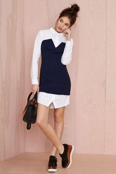 20 Easy Shirt Dresses to Make Spring Dressing a Breeze - Mind Your Business Shirt Dress with pinstripes; $78 at nastygal.com