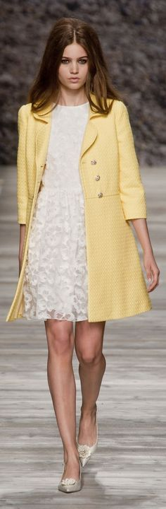 White lace dress with yellow spring coat by Blugirl at MFW Spring 2014