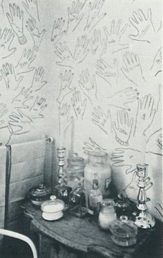 Cecil Beaton's Bathroom Walls, guests' hands were traced and signed.