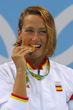 #RIO2016 Gold medalist Mireia Belmonte Garcia of Spain poses on the podium during the medal ceremony for the Women's 200m Butterfly Final on Day 5 of the Rio...
