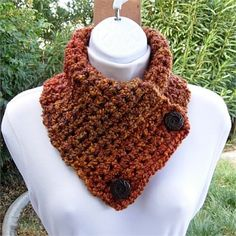 Dark Burnt Orange, Brown, Rust, Gold NECK WARMER SCARF with two large dark brown wooden buttons   Extremely soft and thick hand-crocheted neck warmer. This warmer is double-thickness, made with two strands of extra soft and silky Homespun yarn.   Homespun yarn is a loosely spun yarn with wavy strands that create a unique look and texture. It feels wonderful against skin and conforms perfectly to the curves of the neck and shoulders, so is ideal for a neck warmer.   The color in the photos…