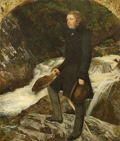 'John Ruskin, standing by the stream at Glenfinlas' by Sir John Everett Millais.      Millais's celebrated portrait of John Ruskin, begun in 1853, has come on loan to the Ashmolean from a private collection and is on display in our Pre-Raphaelites Gallery (67).