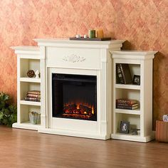 TV Stand With Fireplace Electric Heater Entertainment Center with Shelves White