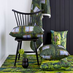 Cumulus Living Garden Windows and Lakeside Cottages cushions and fabrics.  See them at Grand Designs Melbourne