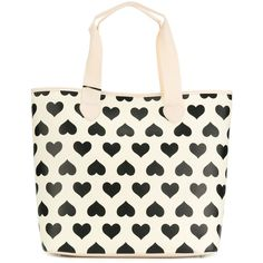 Twin-Set printed hearts tote bag ($120) ❤ liked on Polyvore featuring bags, handbags, tote bags, white leather tote, white tote bag, genuine leather tote bags, white handbag and handbags totes